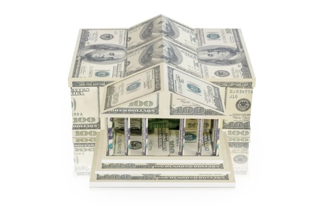 The building of dollar bills on a white background Stock Photo - 19842226