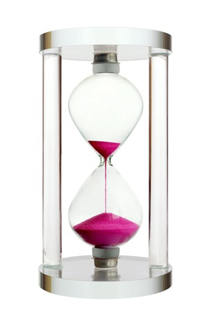 Souvenir modern hourglass isolated on white background