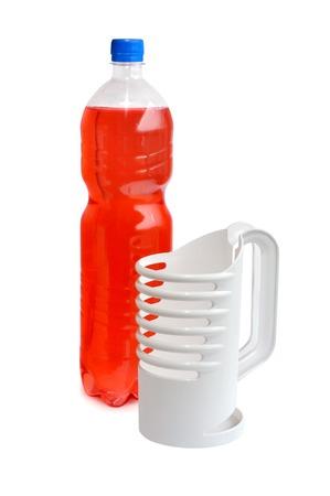 Plastic bottle holder on a white background