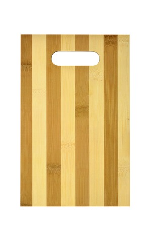 Kitchen cutting board made of wood on white