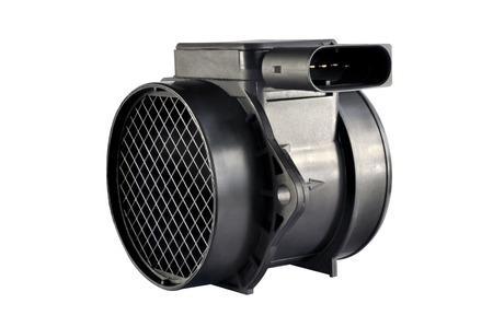 air flow: Motore di automobile sensore di flusso d'aria su uno sfondo bianco Archivio Fotografico