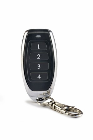 key fob: Electronic car alarm key fob on white background