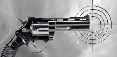 gunmetal: Black revolver and circular target on an abstract background