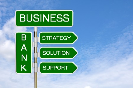 The signpost on the background of a cloudy sky. The concept on business