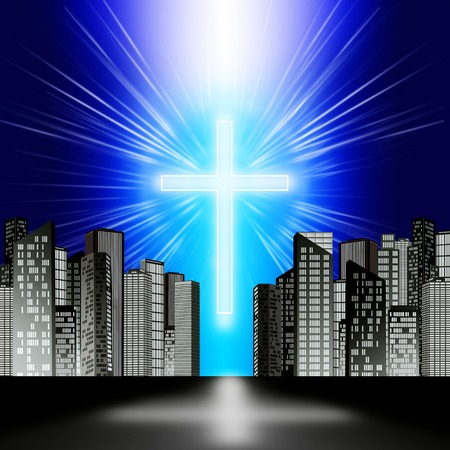 A luminous cross in the sky over the modern city Stock Photo