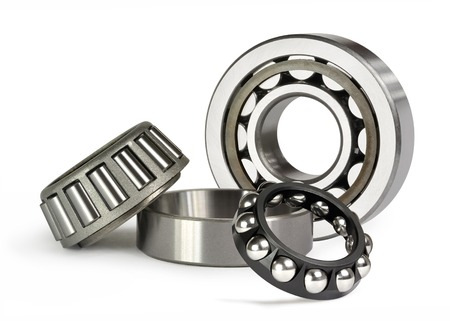 Two roller and one of the ball bearing on white background