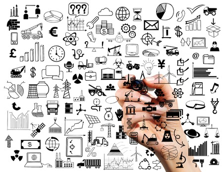 Collage of business symbols and marker in hand on white background