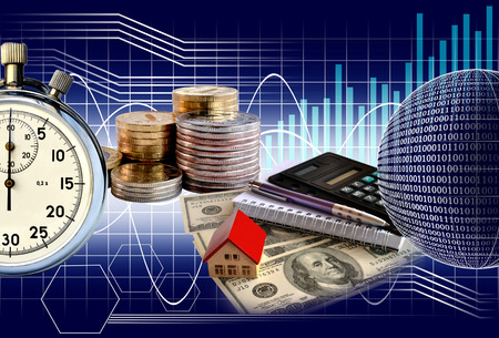 Business collage money and stopwatch on the background chart