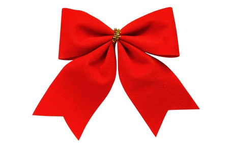A bow of red ribbon closeup on white background
