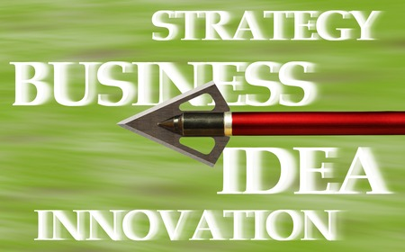 The tip of the flying arrow on a blurred background. Business concept
