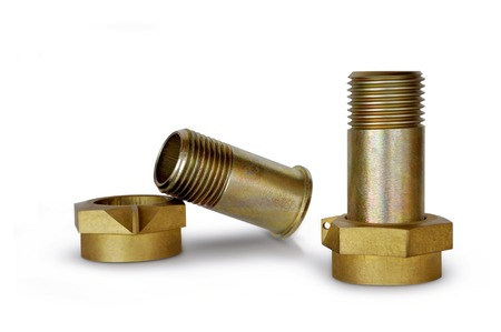 Two metal pipe with nuts for piping on a white background Stock Photo