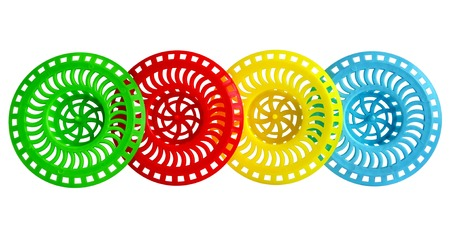grate: Quattro colorati griglie di plastica per il drenaggio del lavello su sfondo bianco