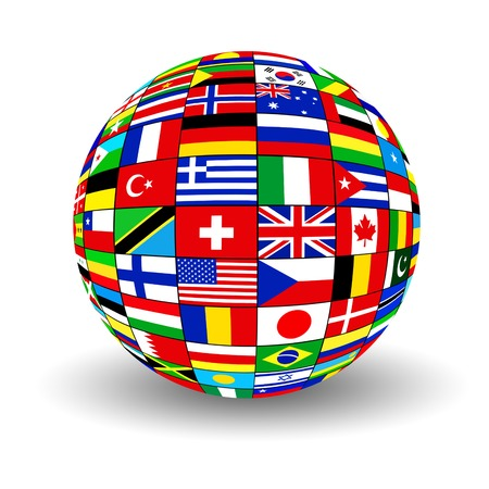 The sphere consisting of national flags of countries of the world on white background Stock Photo