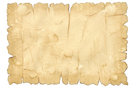 papyrus: Sheet of old paper with torn edges isolated on white background Stock Photo
