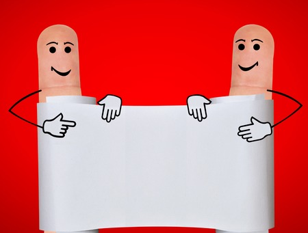 two fingers: Two fingers with painted faces holding the white banner