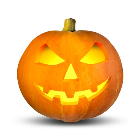 large pumpkin: Scary Halloween Jack. A large pumpkin with glowing eyes and smile on white background
