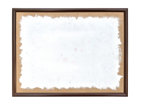 Painted white spot in a frame on a white background