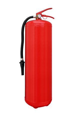 catastrophe: Powder fire extinguisher with pressure gauge on white background
