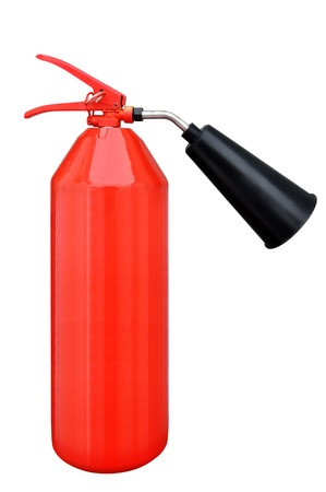 liquidation: Portable carbon dioxide fire extinguisher on a white background Stock Photo