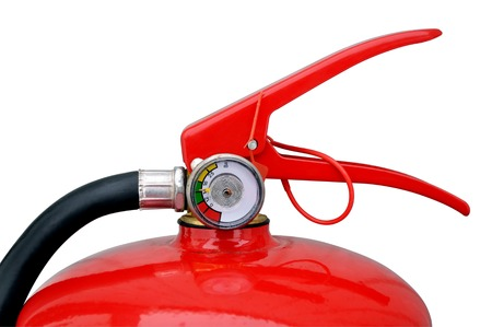 liquidation: Trigger-locking device with a control gauge powder fire extinguisher on a white background Stock Photo