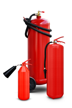 fire extinguishers: Fire extinguishers of various design and volume on a white background