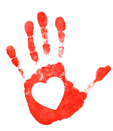 Red imprint of his hand and symbolic heart on white background