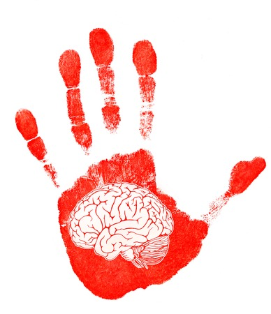 Red imprint of his hand and symbolic brain on white background