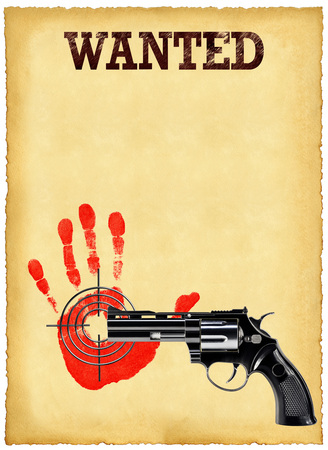 Old sheet of wanted posters and a revolver on a white background