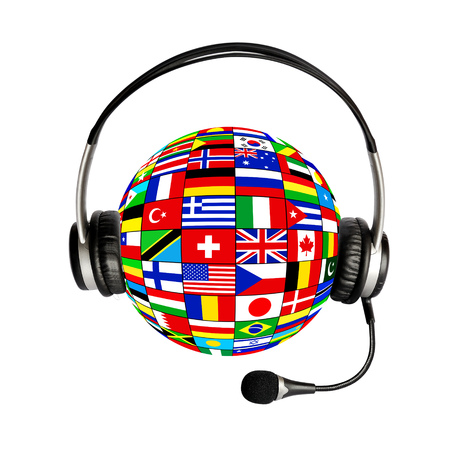 Collage ball of national flags and headphones with microphone on white background Stock Photo