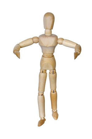 Wooden man with widely spaced hands on white background