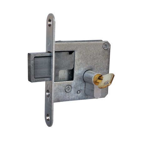 Old mortise door lock with brass key on a white background Stock Photo