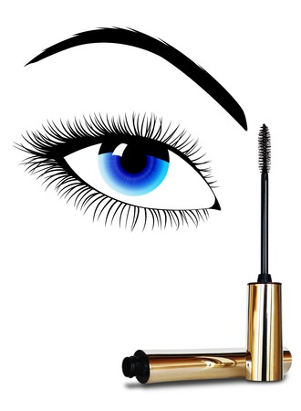 Makeup of a female eye and mascara on white background Stock Photo