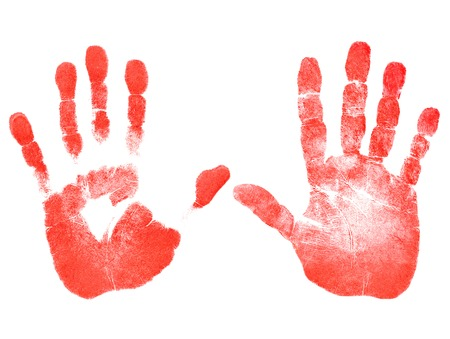 Red prints of the right and left hands on white background Stock Photo