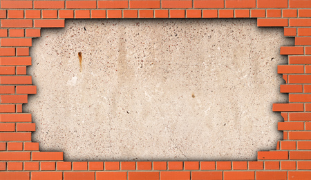 Concrete slab in the gap of a brick wall as the background Stock Photo
