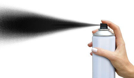 aerosol: Black jet dispersion from an aerosol can in female hand on white background Stock Photo