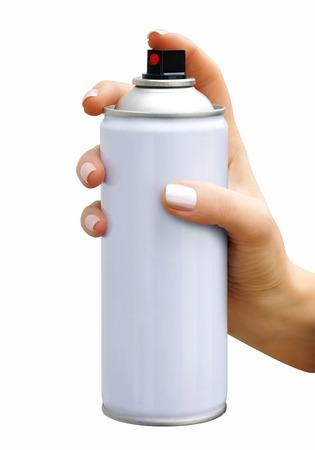 Spray aerosol in female hand on white background