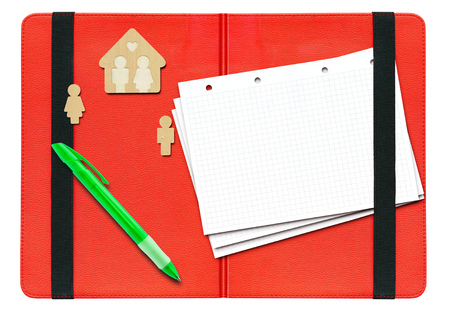 rubber sheet: Wooden house, and men, a pen and sheets of paper on a red open folder