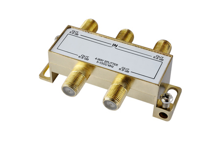 decibel: 4-way splitter aerial input of the TV on a white background Stock Photo