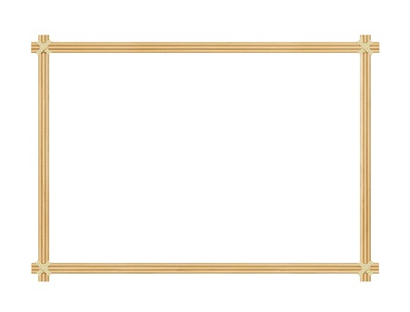 The frame is made of bamboo chips on a white background