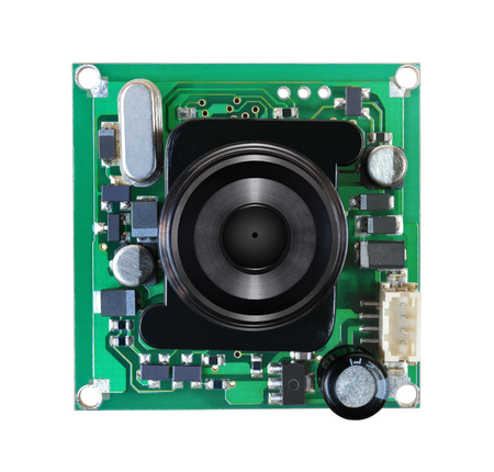 Module miniature digital video camera on white background Stock Photo