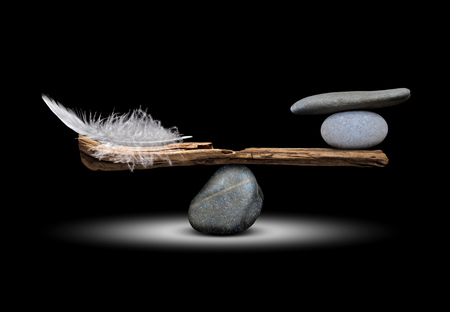 The balance of the bird's feathers and stones on dark background Standard-Bild