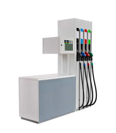 Modern automatic gas column for four types of fuel on a white background