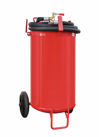 Modern powder fire extinguisher high capacity for the elimination of fires of different classes on a white background