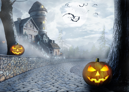 Halloween Night. Bats and pumpkins on the background of dark houses, roads and forests in the fog