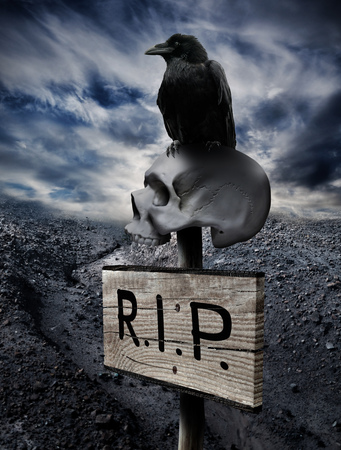 Black crow sits on a human skull impaled with a sign in the middle of a rocky desert Stock Photo