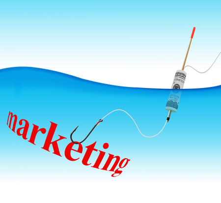 Business concept. Marketing hook fishing tackle with the dollar in the form of a float in the water column