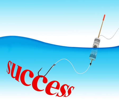 Business concept. Success hook fishing tackle with the dollar in the form of a float in the water column