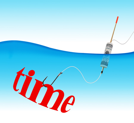 Business concept. Time hook fishing tackle with the dollar in the form of a float in the water column