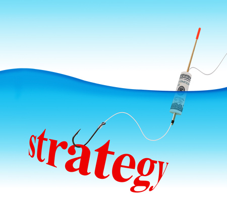 Business concept. Strategy hook fishing tackle with the dollar in the form of a float in the water column Stock Photo