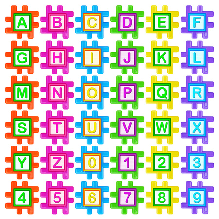 Coloured plastic puzzles with alphabet and numbers for childrens development and of three-dimensional modeling on a white background